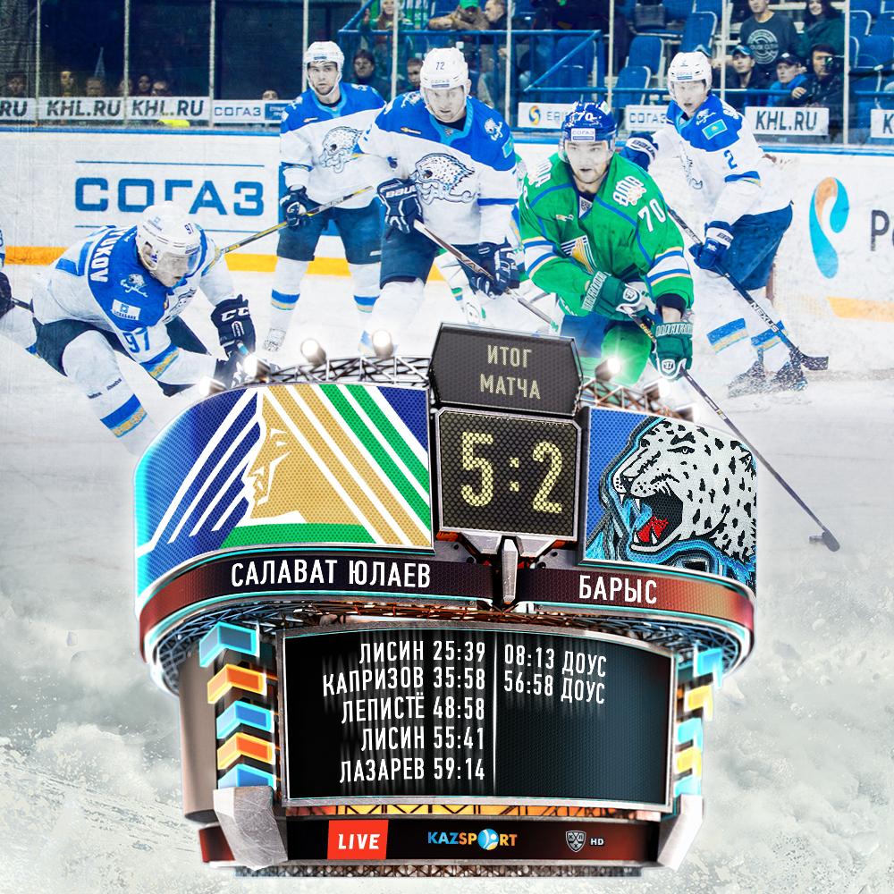 Уфимский «Салават Юлаев» одержал домашнюю победу над «Барысом»
